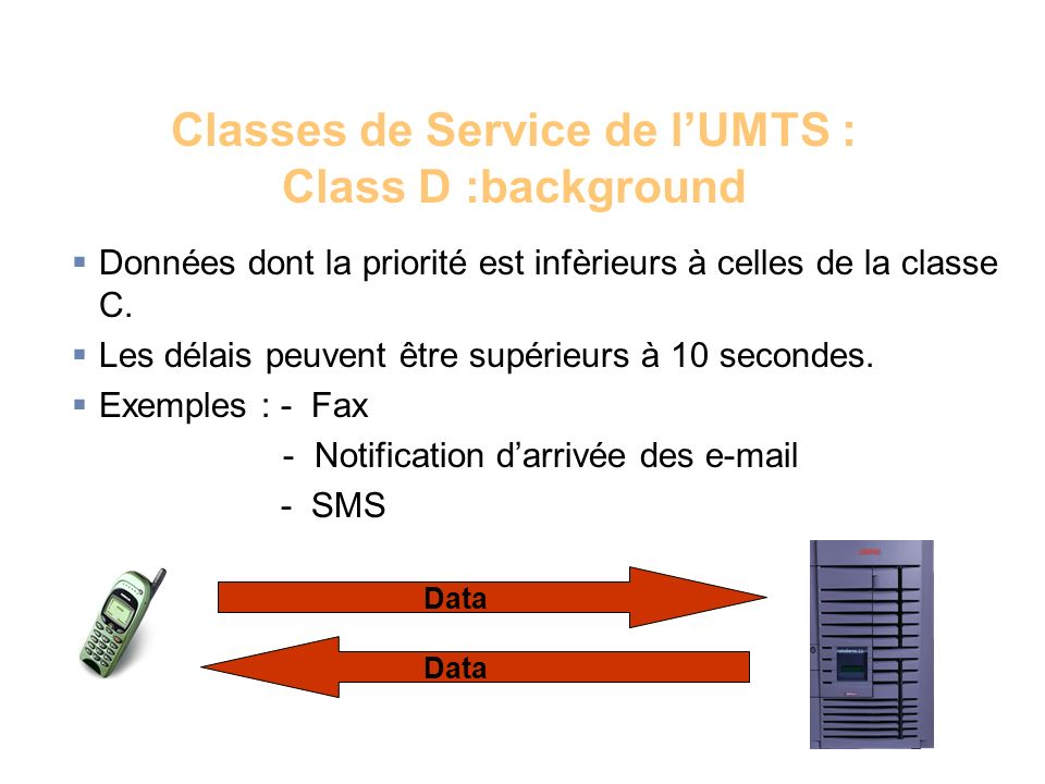 Classes de Service de l'UMTS : Class D :background