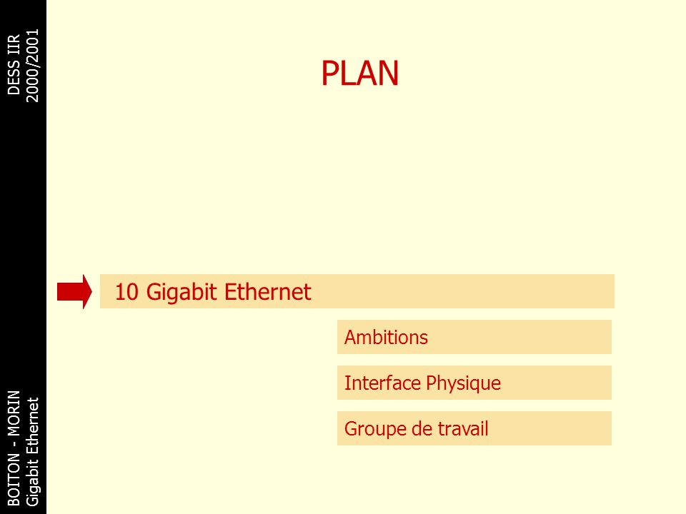 PLAN 10 Gigabit Ethernet Ambitions Interface Physique