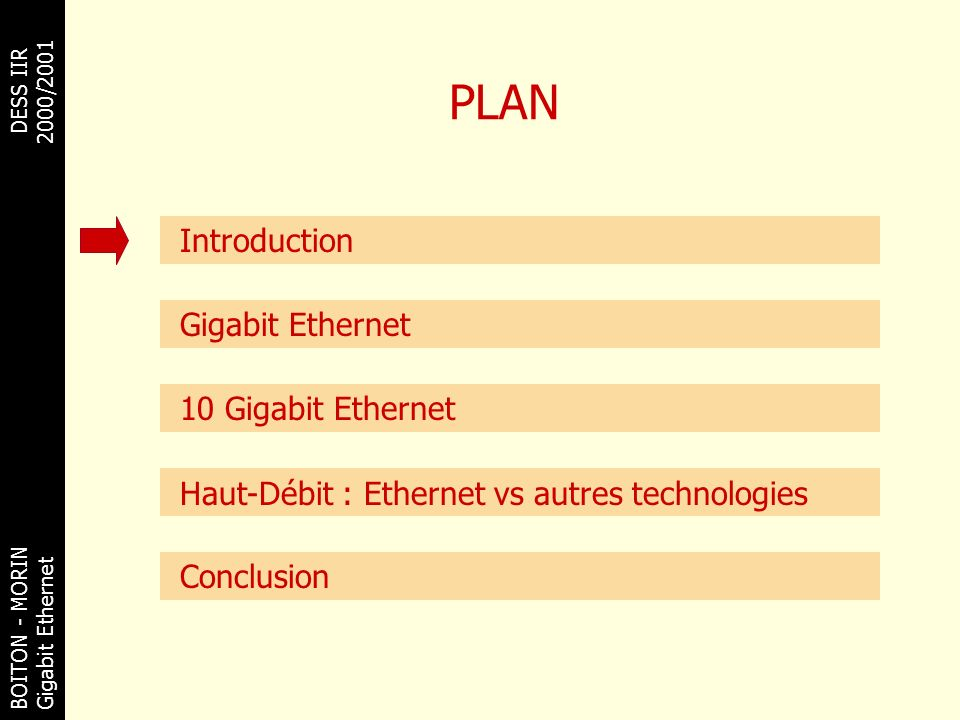 PLAN Introduction Gigabit Ethernet 10 Gigabit Ethernet