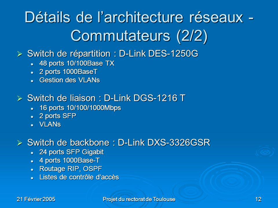Détails de l'architecture réseaux - Commutateurs (2/2)