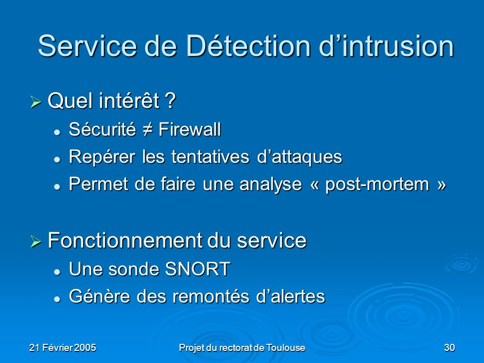 Service de Détection d'intrusion