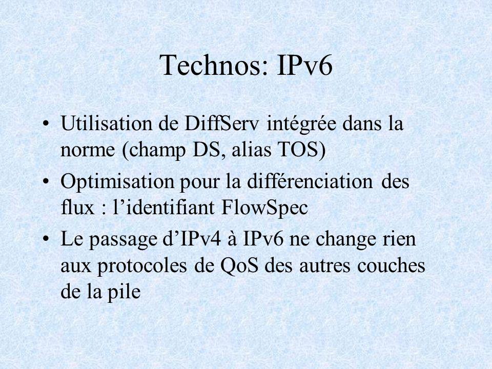Technos: IPv6 Utilisation de DiffServ intégrée dans la norme (champ DS, alias TOS)