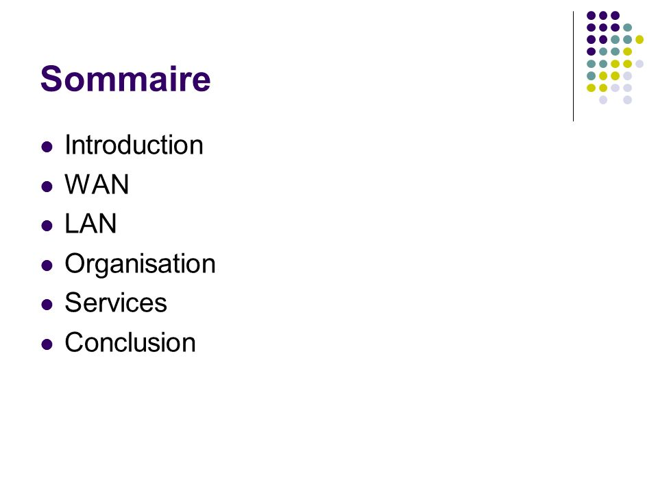 Sommaire Introduction WAN LAN Organisation Services Conclusion