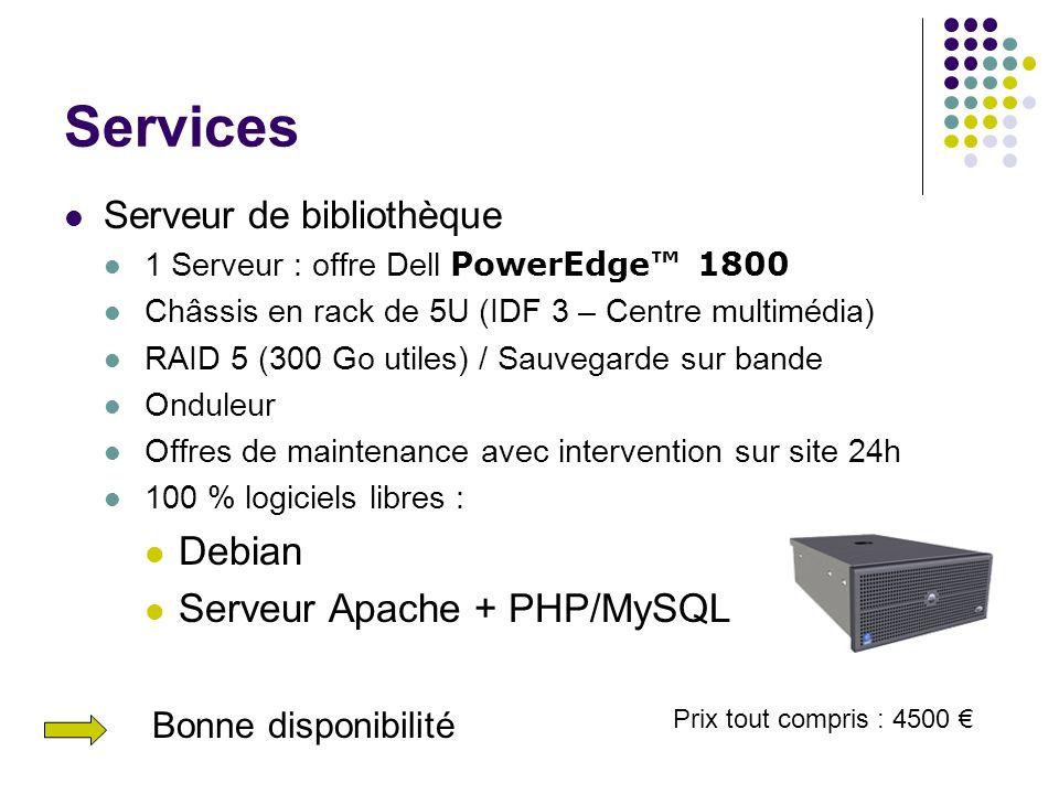 Services Debian Serveur Apache + PHP/MySQL Serveur de bibliothèque