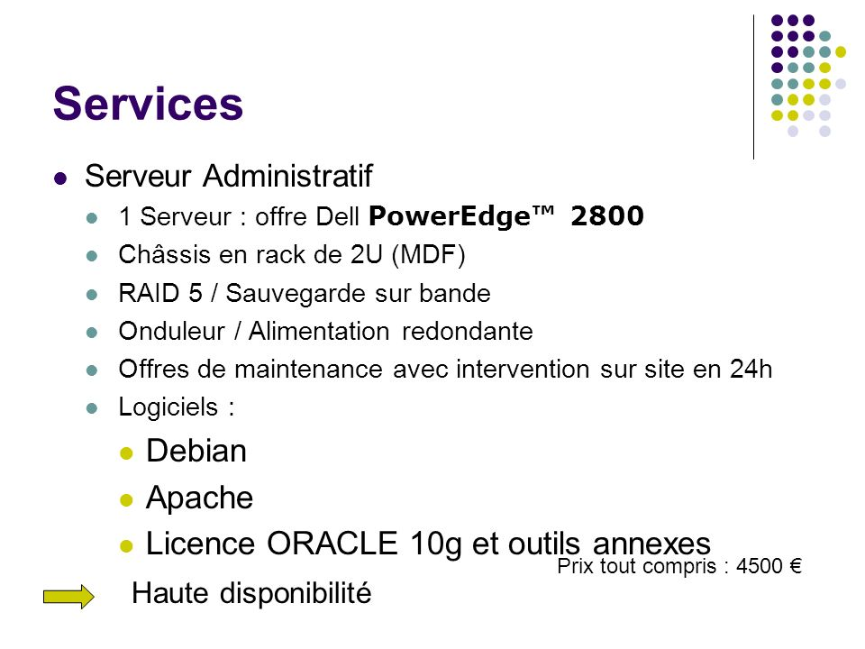 Services Debian Apache Licence ORACLE 10g et outils annexes