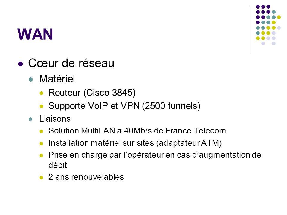 WAN Cœur de réseau Matériel Routeur (Cisco 3845)