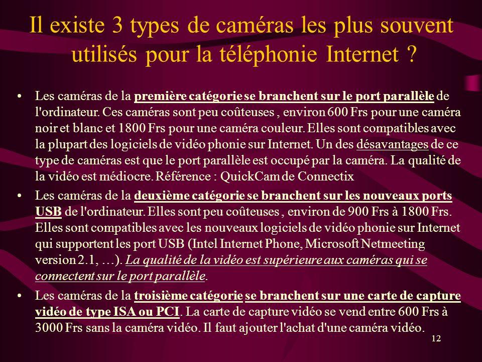 Il existe 3 types de caméras les plus souvent utilisés pour la téléphonie Internet