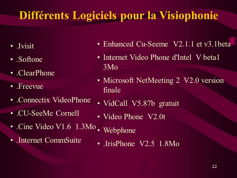 Différents Logiciels pour la Visiophonie