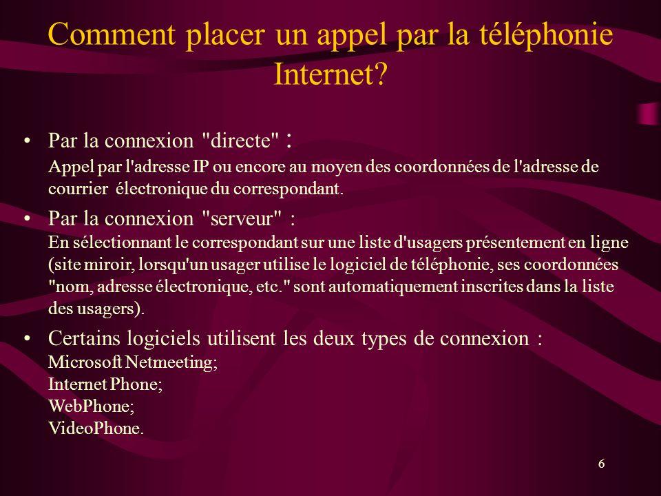 Comment placer un appel par la téléphonie Internet