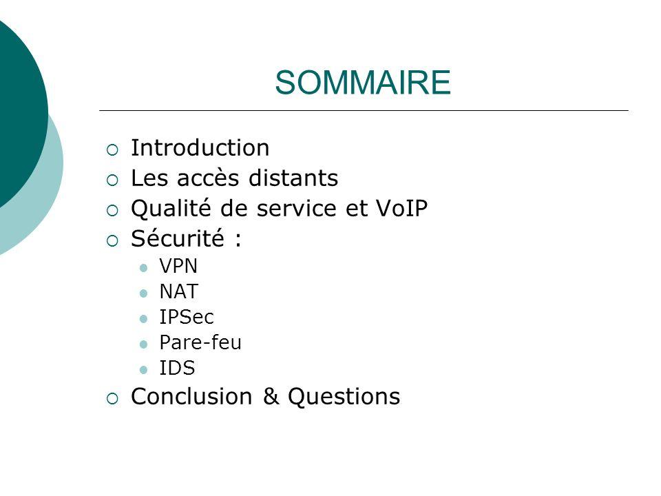 SOMMAIRE Introduction Les accès distants Qualité de service et VoIP
