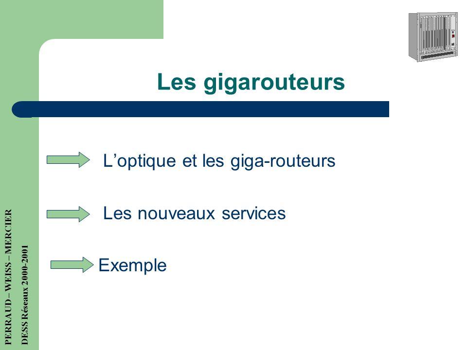 Les gigarouteurs L'optique et les giga-routeurs Les nouveaux services