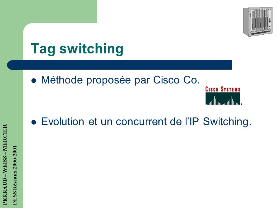 Tag switching Méthode proposée par Cisco Co.