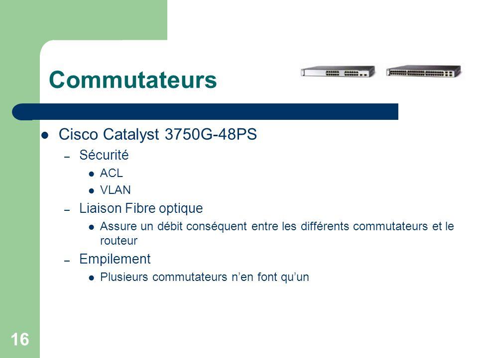 Commutateurs Cisco Catalyst 3750G-48PS Sécurité Liaison Fibre optique