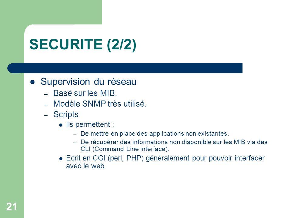 SECURITE (2/2) Supervision du réseau Basé sur les MIB.