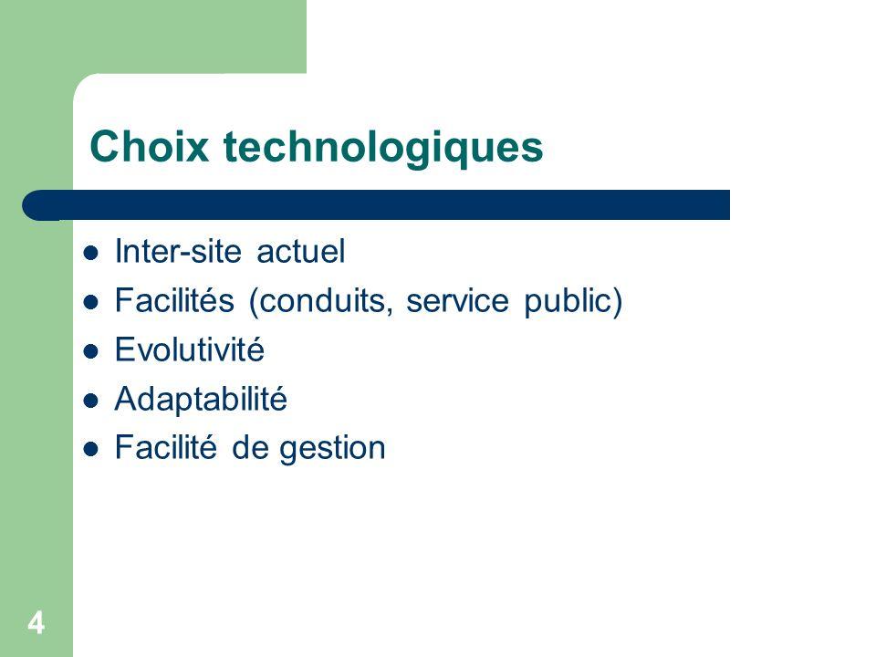 Choix technologiques Inter-site actuel