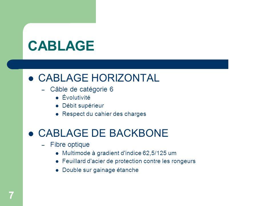 CABLAGE CABLAGE HORIZONTAL CABLAGE DE BACKBONE Câble de catégorie 6
