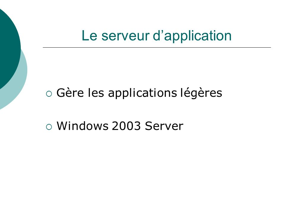 Le serveur d'application