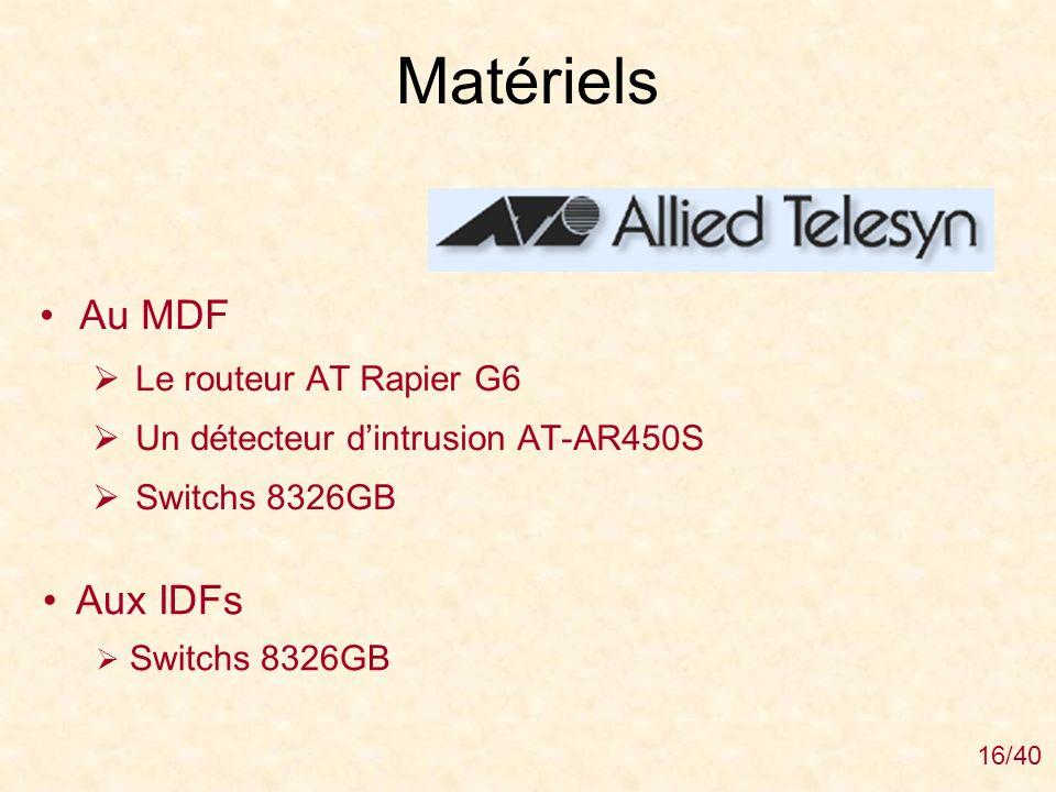 Matériels Au MDF Aux IDFs Le routeur AT Rapier G6