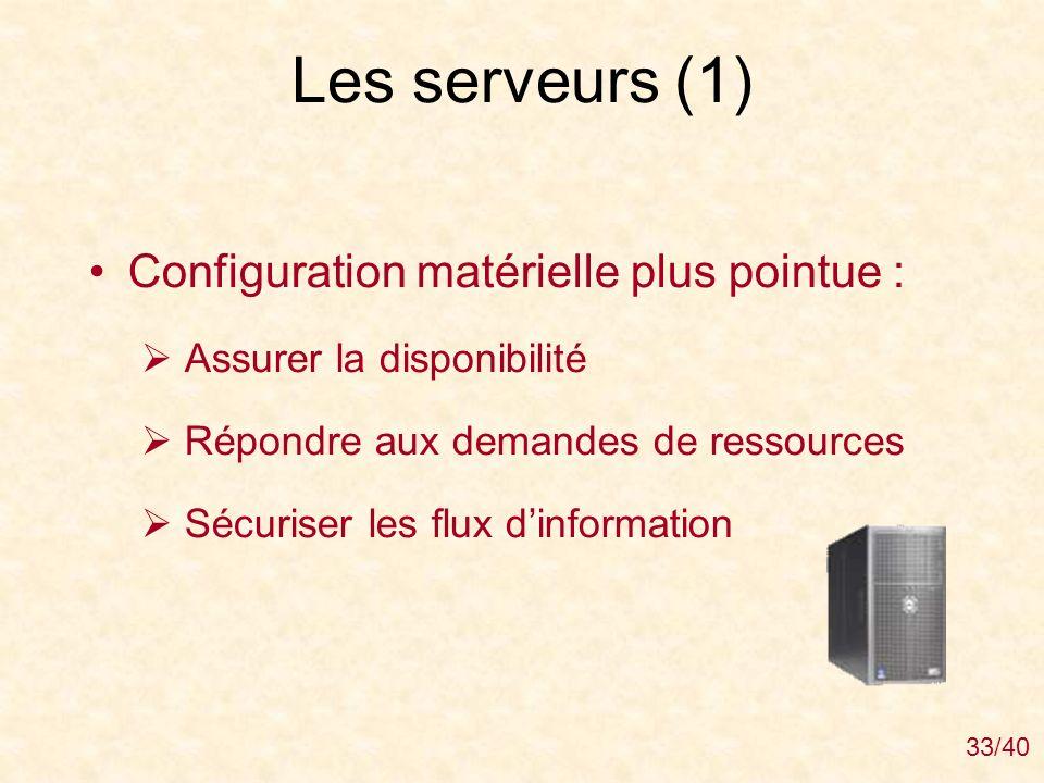 Les serveurs (1) Configuration matérielle plus pointue :