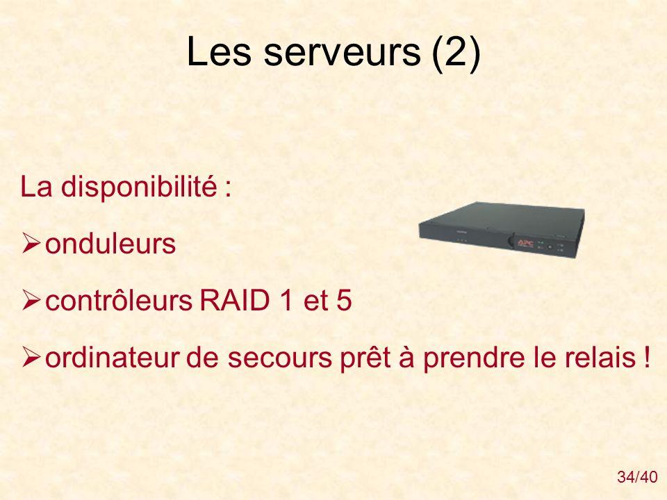 Les serveurs (2) La disponibilité : onduleurs contrôleurs RAID 1 et 5