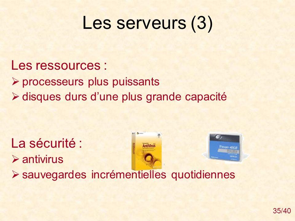 Les serveurs (3) Les ressources : La sécurité :