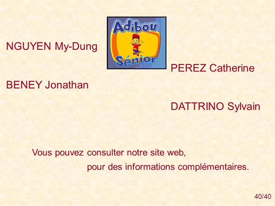 NGUYEN My-Dung PEREZ Catherine BENEY Jonathan DATTRINO Sylvain