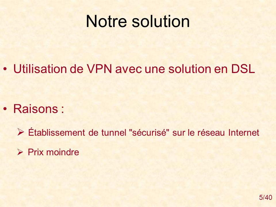 Notre solution Utilisation de VPN avec une solution en DSL Raisons :
