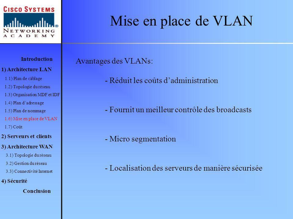 Mise en place de VLAN Avantages des VLANs: