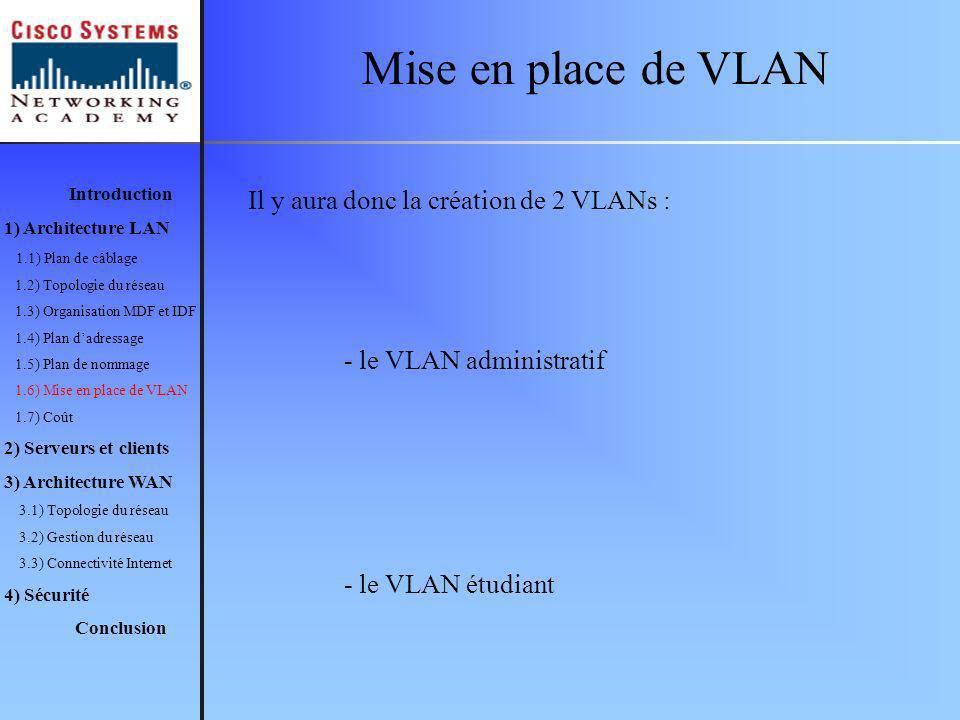 Mise en place de VLAN Il y aura donc la création de 2 VLANs :
