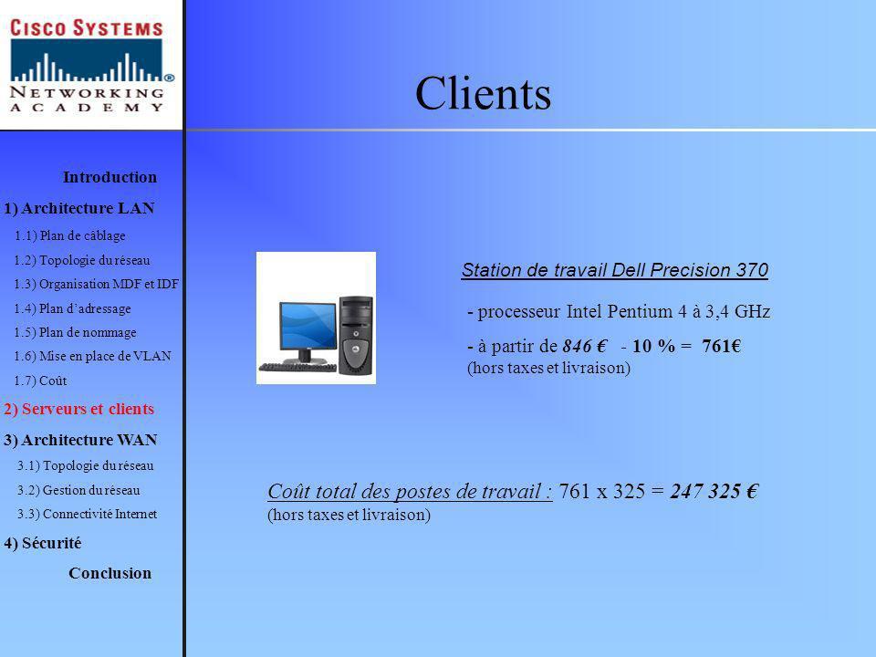 Clients Introduction. 1) Architecture LAN. 1.1) Plan de câblage. 1.2) Topologie du réseau. 1.3) Organisation MDF et IDF.