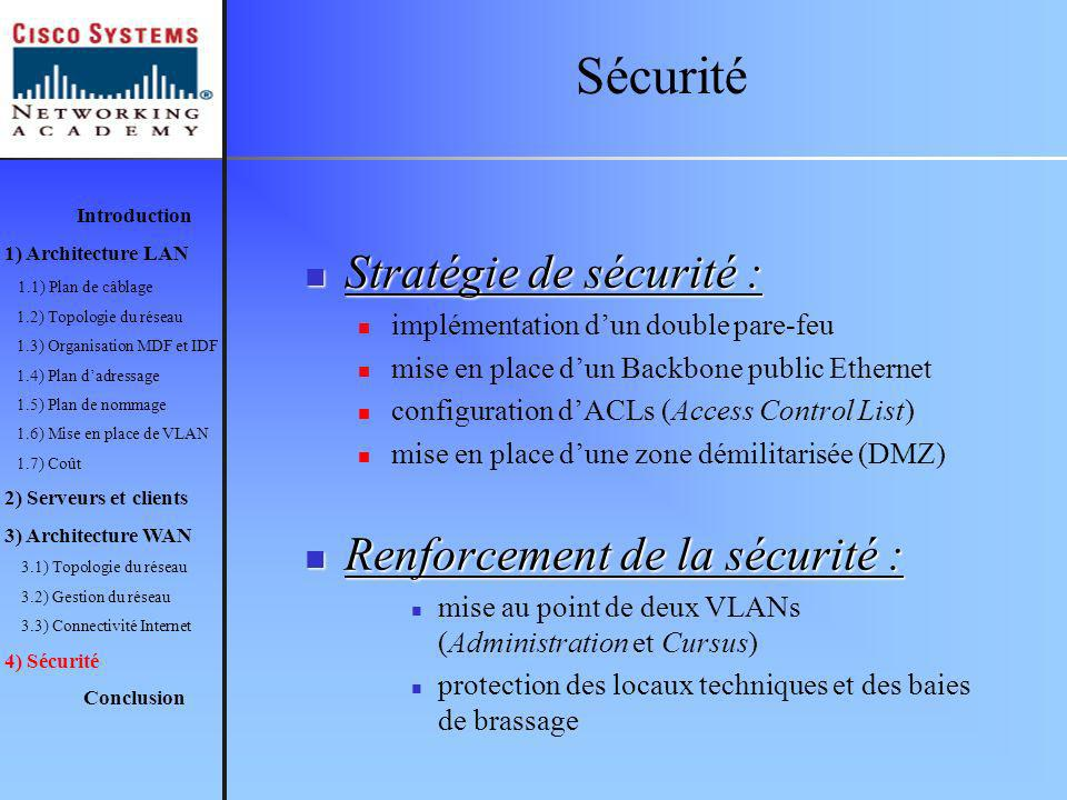 Sécurité Stratégie de sécurité : Renforcement de la sécurité :