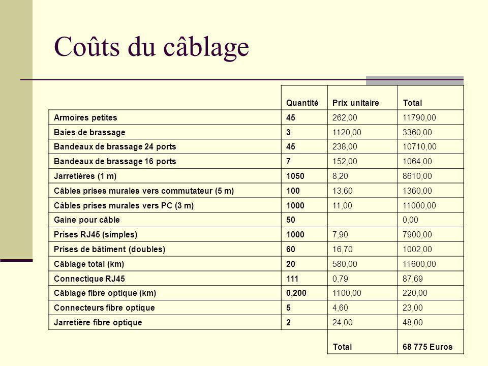 Coûts du câblage Quantité Prix unitaire Total Armoires petites 45