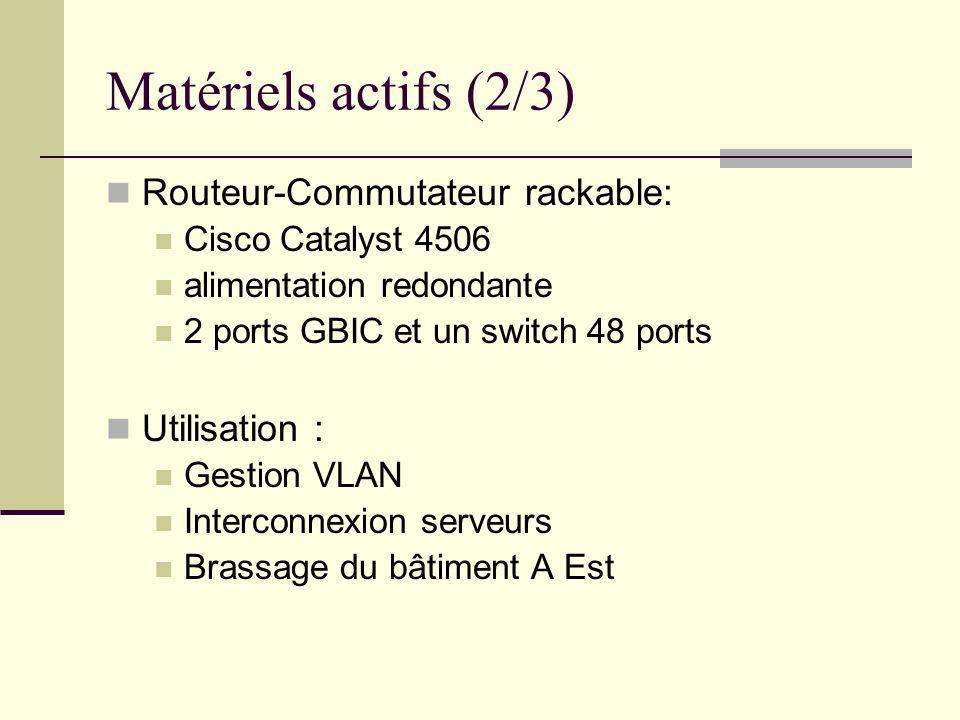 Matériels actifs (2/3) Routeur-Commutateur rackable: Utilisation :