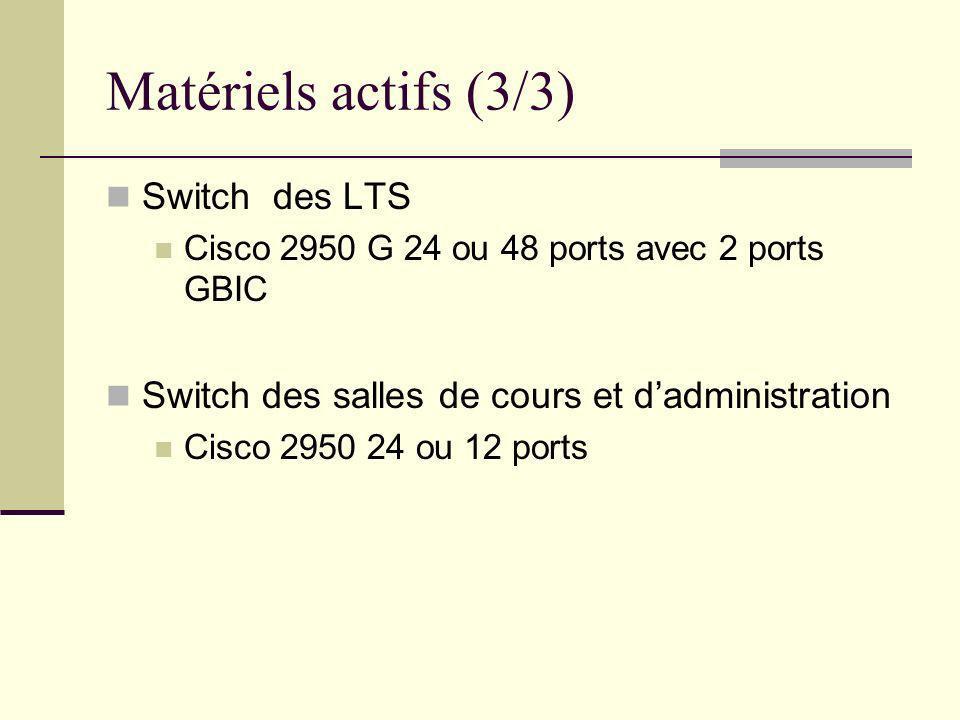Matériels actifs (3/3) Switch des LTS