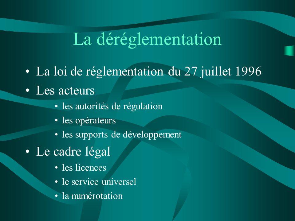 La déréglementation La loi de réglementation du 27 juillet 1996