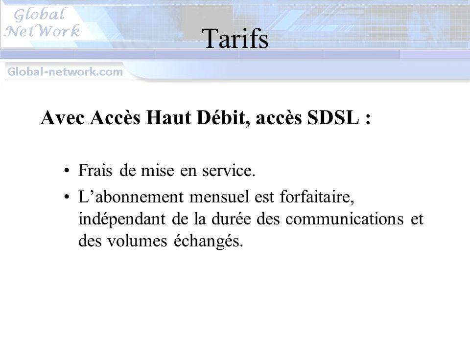 Tarifs Avec Accès Haut Débit, accès SDSL : Frais de mise en service.