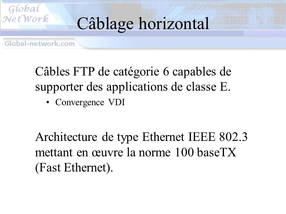 Câblage horizontal Câbles FTP de catégorie 6 capables de supporter des applications de classe E. Convergence VDI.