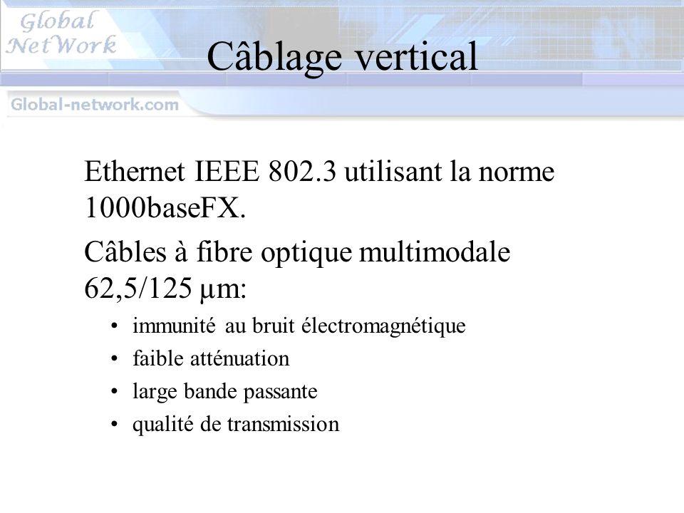 Câblage vertical Ethernet IEEE 802.3 utilisant la norme 1000baseFX.