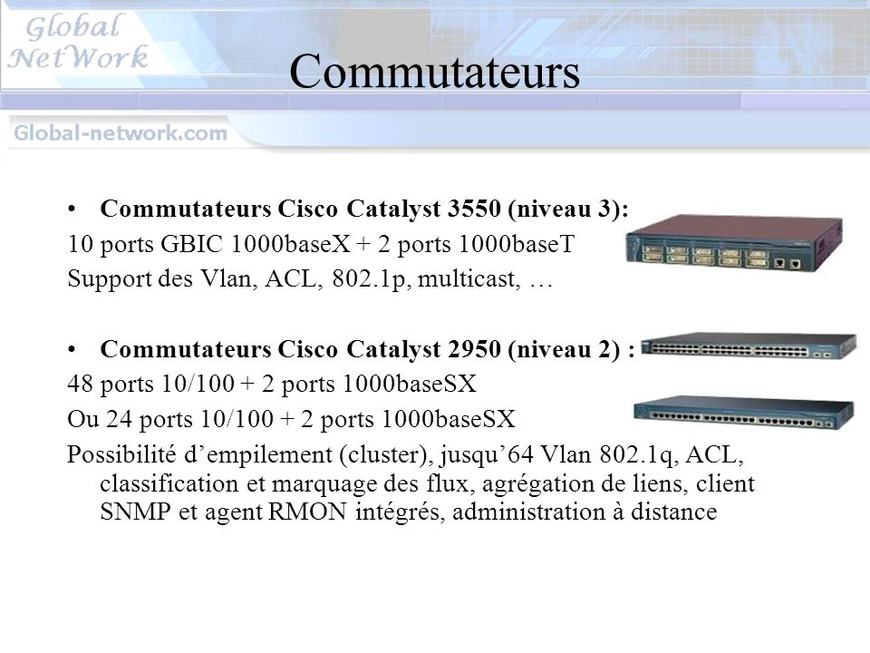 Commutateurs Commutateurs Cisco Catalyst 3550 (niveau 3):