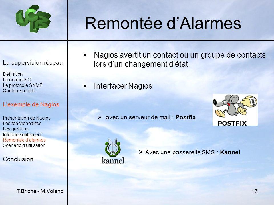 Remontée d'AlarmesNagios avertit un contact ou un groupe de contacts lors d'un changement d'état. Interfacer Nagios.
