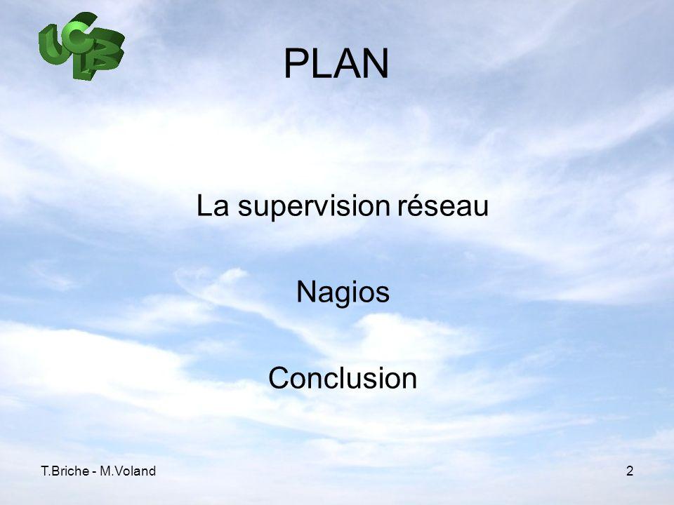 PLAN La supervision réseau Nagios Conclusion T.Briche - M.Voland