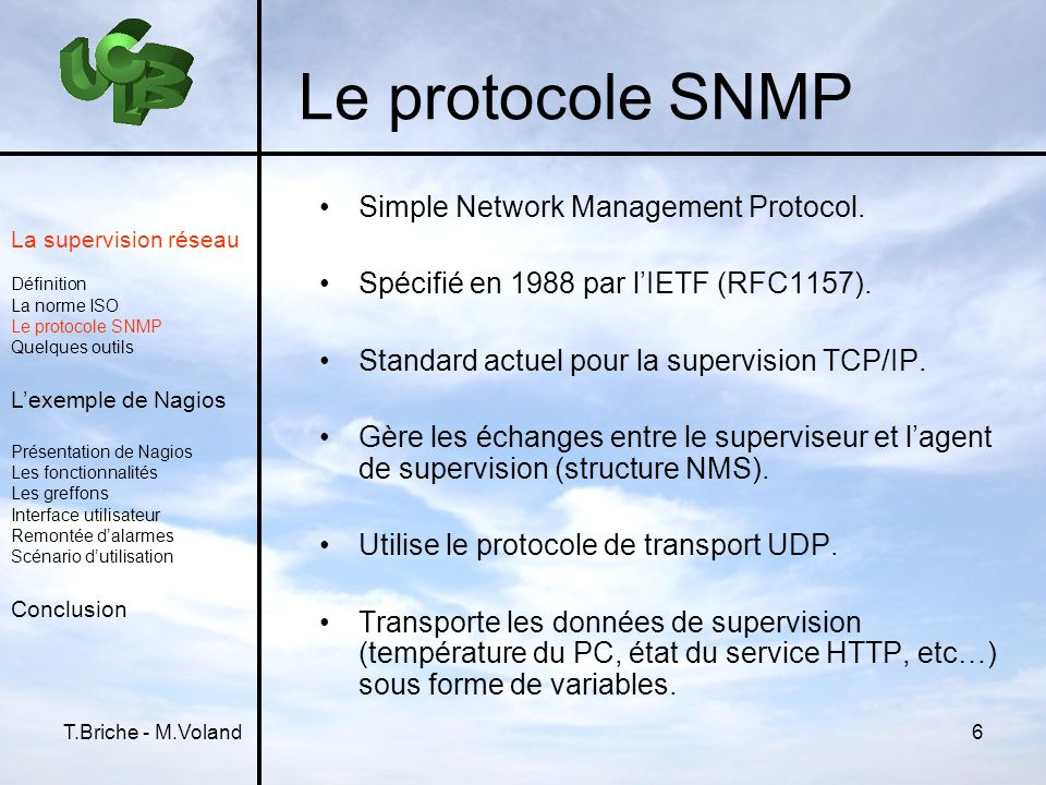 Le protocole SNMP Simple Network Management Protocol.