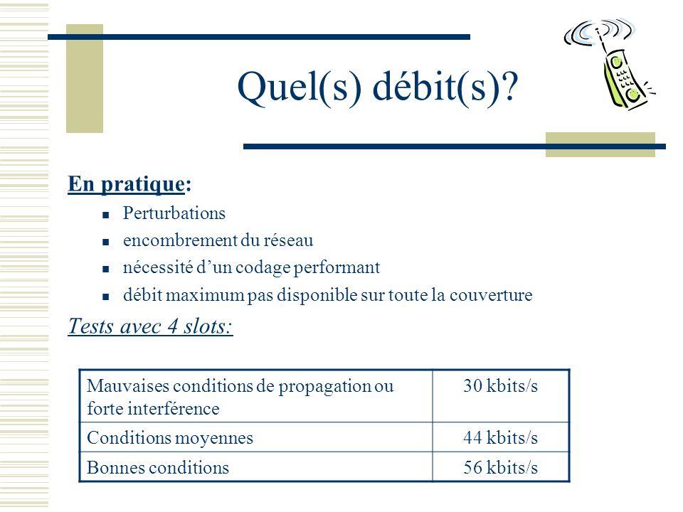 Quel(s) débit(s) En pratique: Tests avec 4 slots: Perturbations