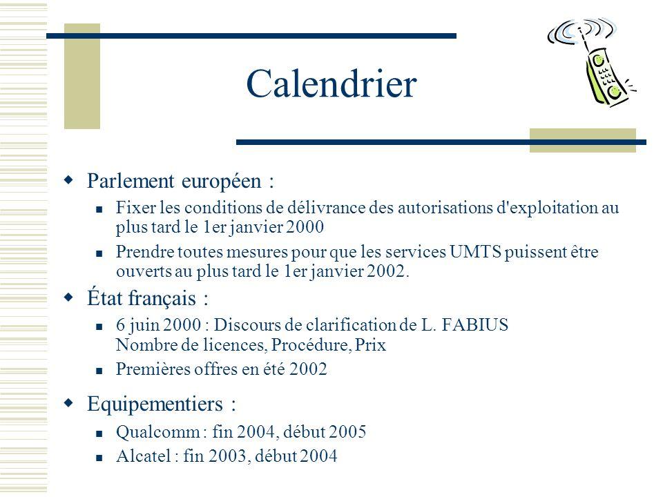 Calendrier Parlement européen : État français : Equipementiers :