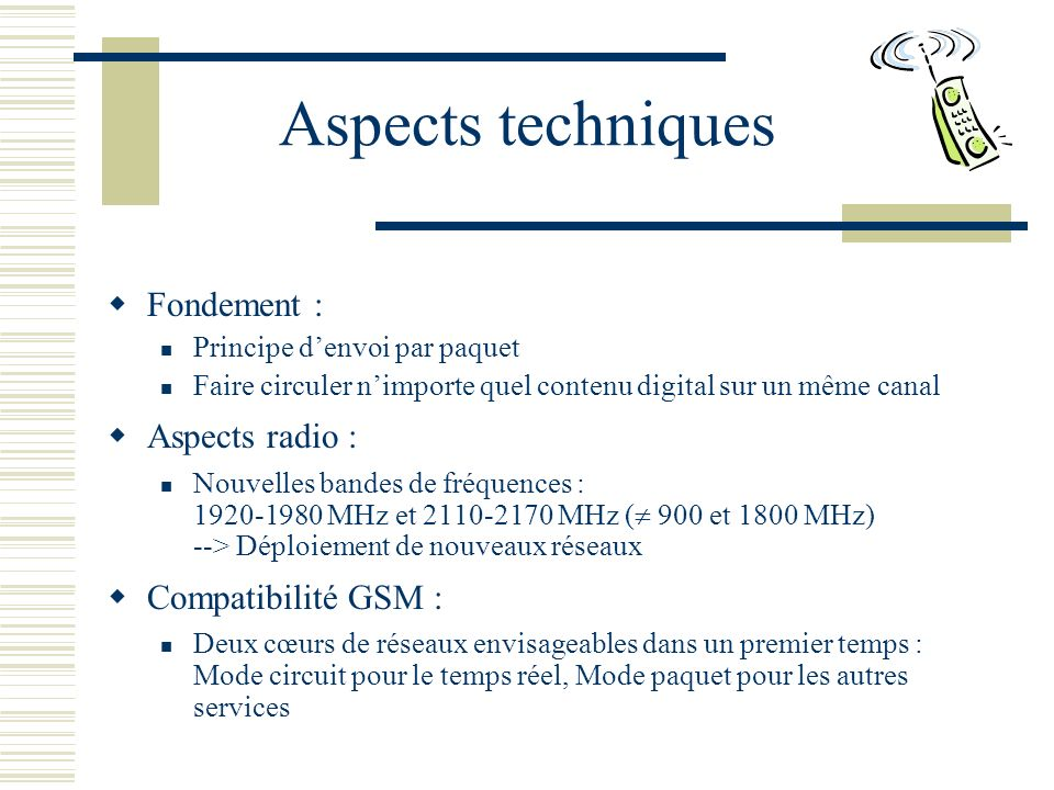 Aspects techniques Fondement : Aspects radio : Compatibilité GSM :