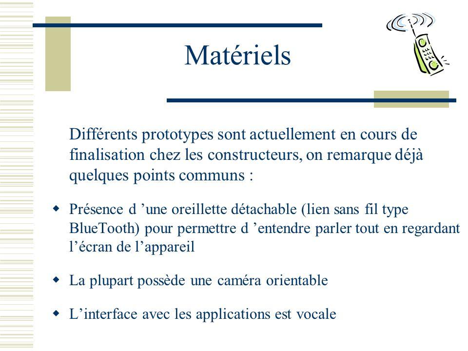 Matériels Différents prototypes sont actuellement en cours de finalisation chez les constructeurs, on remarque déjà quelques points communs :