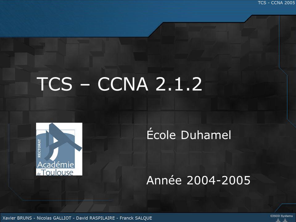 TCS – CCNA 2.1.2 École Duhamel Année 2004-2005