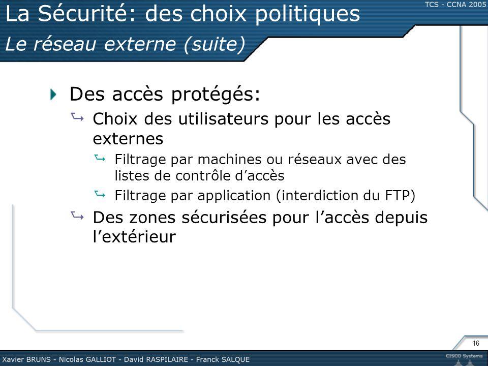 La Sécurité: des choix politiques Le réseau externe (suite)