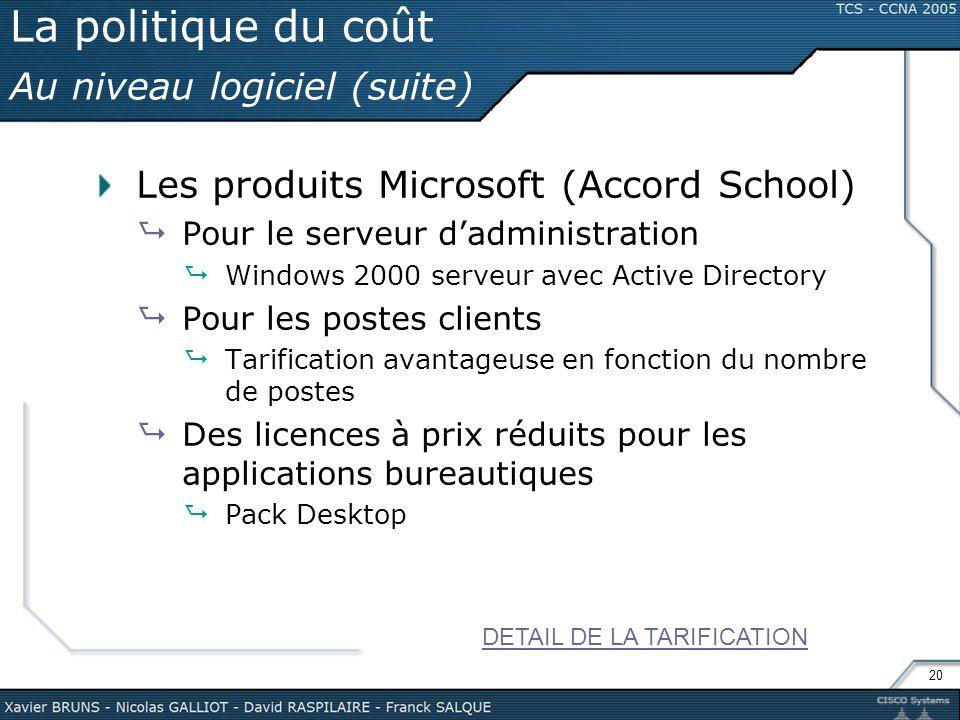 La politique du coût Au niveau logiciel (suite)