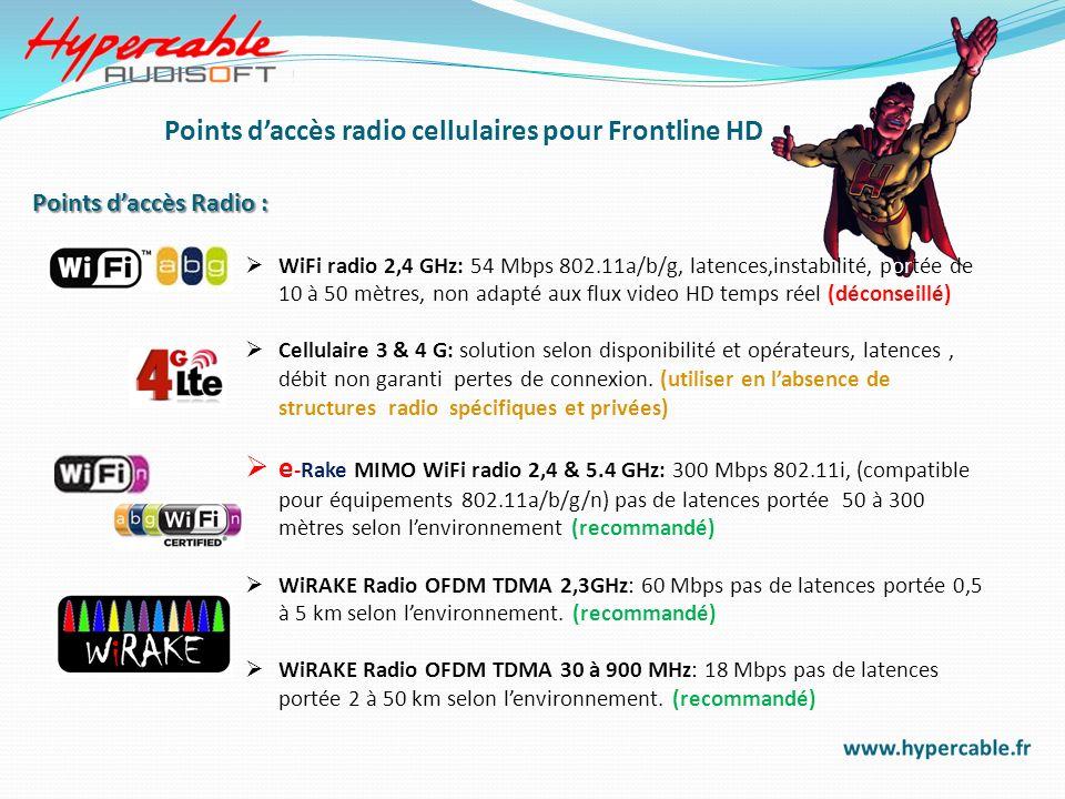 Points d'accès radio cellulaires pour Frontline HD
